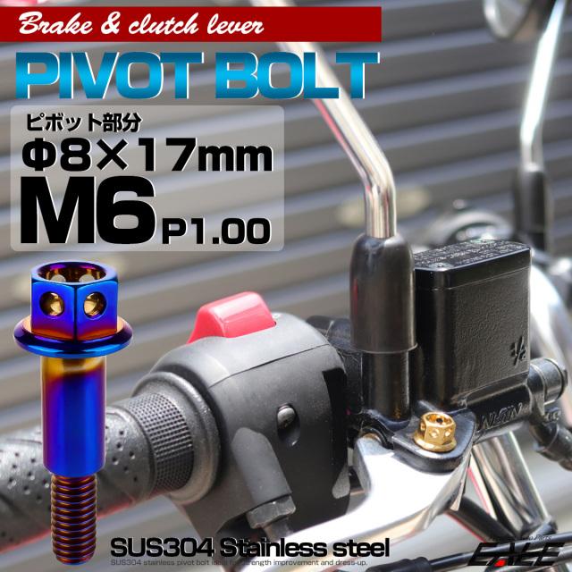 【ネコポス可】 SUSステンレス サイドホールヘッド ブレーキ&クラッチレバー取付 ピボットボルト Φ7×16mm M6×14mm P=1.00 焼きチタン TH0528