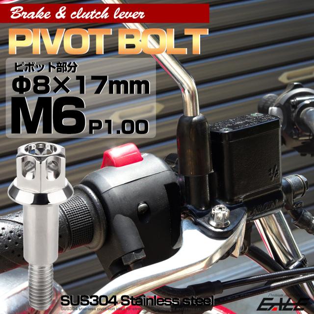 ブレーキレバー クラッチレバー 取付用 ピボットボルト Φ7×16mm M6×14mm P=1.00 シルバー A3ヘッド SUSステンレス TH0536