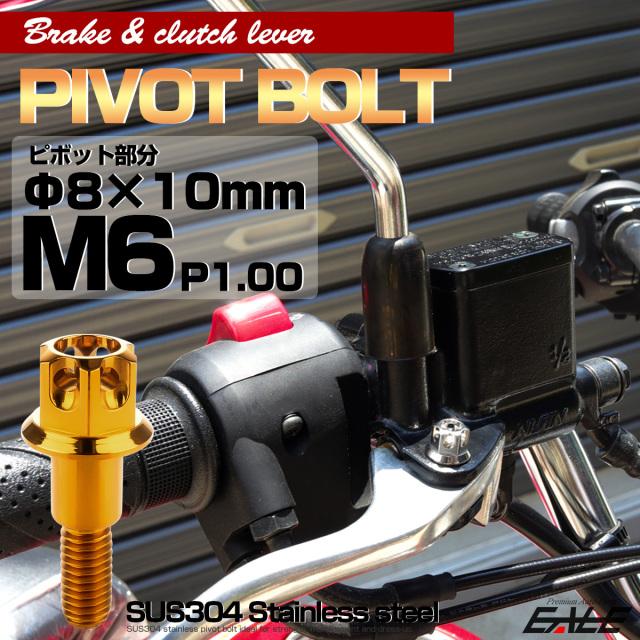 ブレーキレバー クラッチレバー 取付用 ピボットボルト Φ7×10mm M6×13mm P=1.00 ゴールド A3ヘッド SUSステンレス TH0537