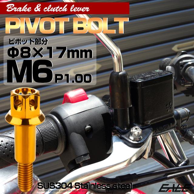 ブレーキレバー クラッチレバー 取付用 ピボットボルト Φ7×16mm M6×14mm P=1.00 ゴールド A3ヘッド SUSステンレス TH0538