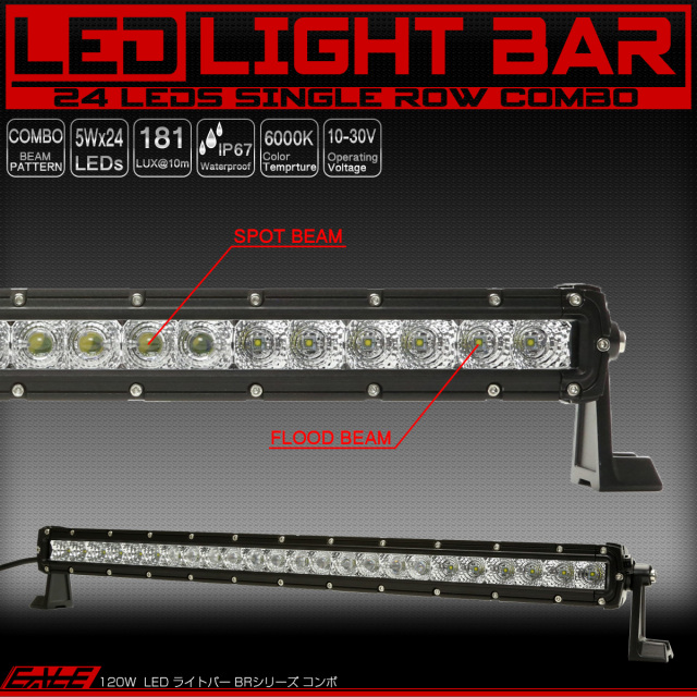 LEDライトバー 28インチ 120W BRシリーズ 30度スポット&60度ワイド コンボビームパターン ワークライト 作業灯 IP67 12V/24V対応