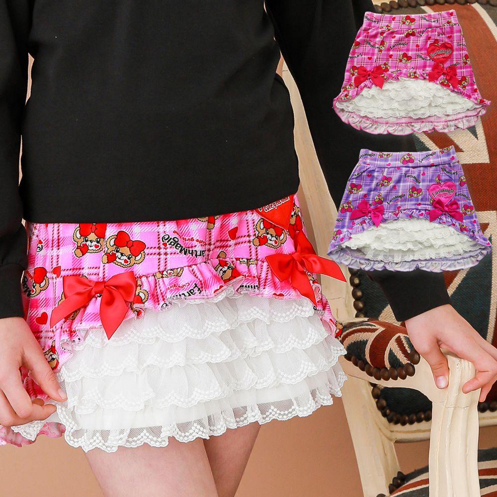 アースマジック EARTHMAGIC 正規品 ハートチェックマフィー総柄台形スカート