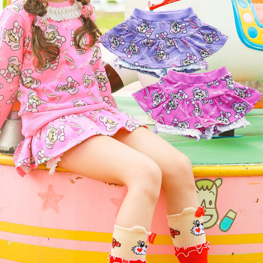 【50%OFFセール】EARTHMAGIC(アースマジック) きぐるみマフィー総柄 パンツスカート