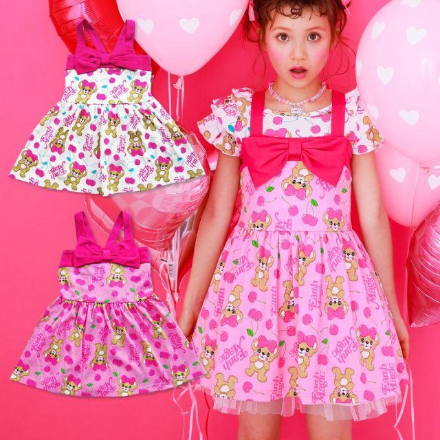 【セール対象外】EARTHMAGIC(アースマジック) CherryMaffy総柄ジャンパースカート