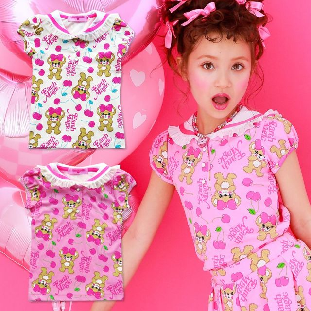 【セール対象外】EARTHMAGIC(アースマジック) CherryMaffy総柄セーラーカラーTシャツ