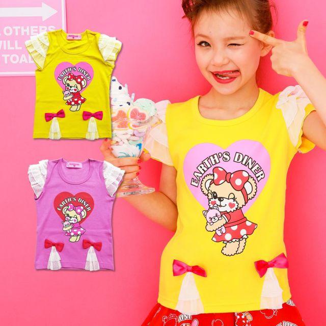 【セール対象外】EARTHMAGIC(アースマジック) EARTHDINERプリントフリルTシャツ