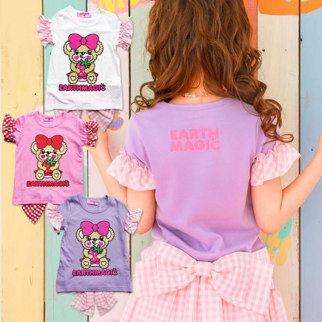 【セール対象外】EARTHMAGIC(アースマジック) ギンガムチェックバックリボンTシャツ