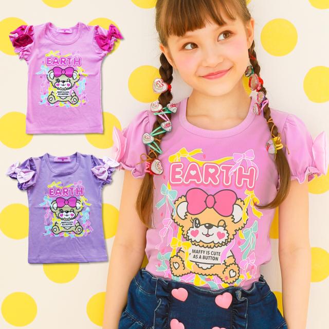 EARTHMAGIC(アースマジック) ウインクマフィープリントリボン付きTシャツ