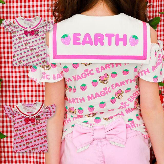 EARTHMAGIC(アースマジック) イチゴ マフィー 総柄  セーラーカラー 肩あき Tシャツ