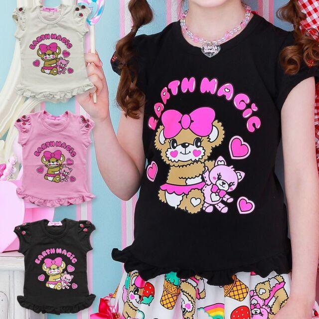 EARTHMAGIC(アースマジック) マフィープリント イチゴ刺繍入 パフスリーブ Tシャツ