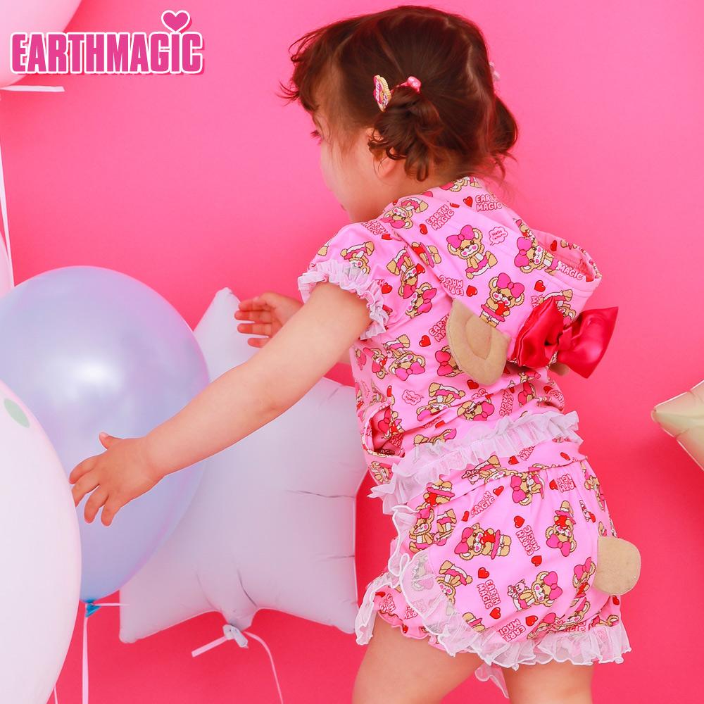 アースマジックベビー EARTHMAGIC BABY ハローマフィー総柄しっぽ付きブルマ クマしっぽ Tシャツ素材