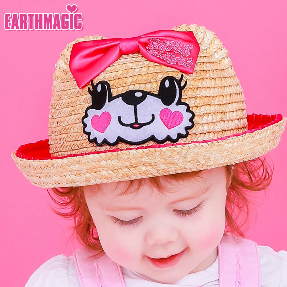 アースマジックベビー EARTHMAGIC BABY マフィーフェイス麦わら帽子 立体クマ耳