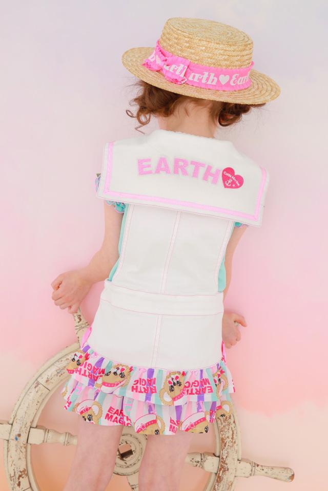 アースマジック EARTHMAGIC セーラーデニムジャンスカ ジップアップ マリーンマフィー総柄 ジャンパースカート 2021春夏