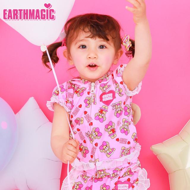 アースマジックベビー EARTHMAGIC BABY ハローマフィー総柄 ジップアップパーカー クマ耳 Tシャツ素材