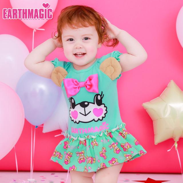 アースマジックベビー EARTHMAGIC BABY マフィーフェイスカバーオール ハローマフィー総柄 Tシャツ素材 ロンパース クマ耳