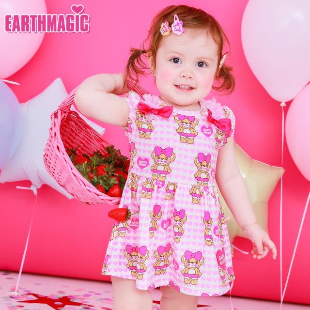 アースマジックベビー EARTHMAGIC BABY ハートいっぱいマフィー総柄カバーオール Tシャツ素材 ロンパース