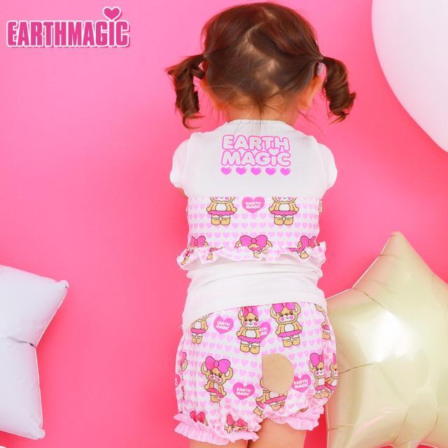 アースマジックベビー EARTHMAGIC BABY ハートいっぱいマフィー総柄しっぽ付きブルマ クマしっぽ Tシャツ素材
