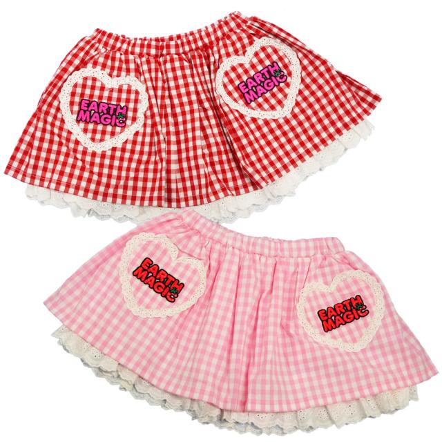 【30%OFFセール】アースマジック EARTHMAGIC ギンガムチェック ハートポケットスカート(インナーパンツ付) 2020春夏 アカ ペールピンク
