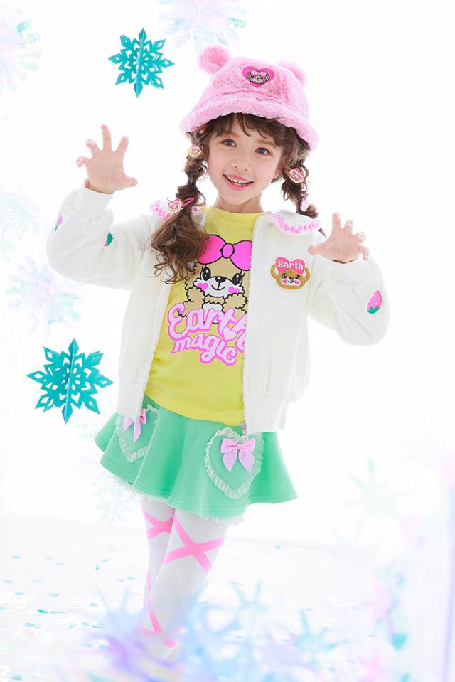 アースマジック EARTHMAGIC シルキーファー襟付きイチゴ刺繍袖ジップアップジャケット 2021秋冬 オフシロ ペールピンク