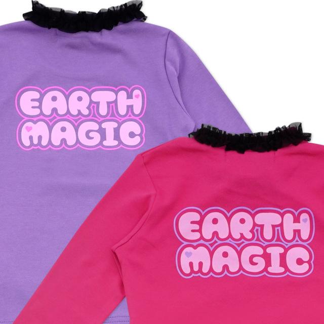 アースマジック EARTHMAGIC チョーカー付きマフィー&ユニコーンプリント長袖Tシャツ 黒チュール 2021秋冬 ビビッドピンク ラベンダー