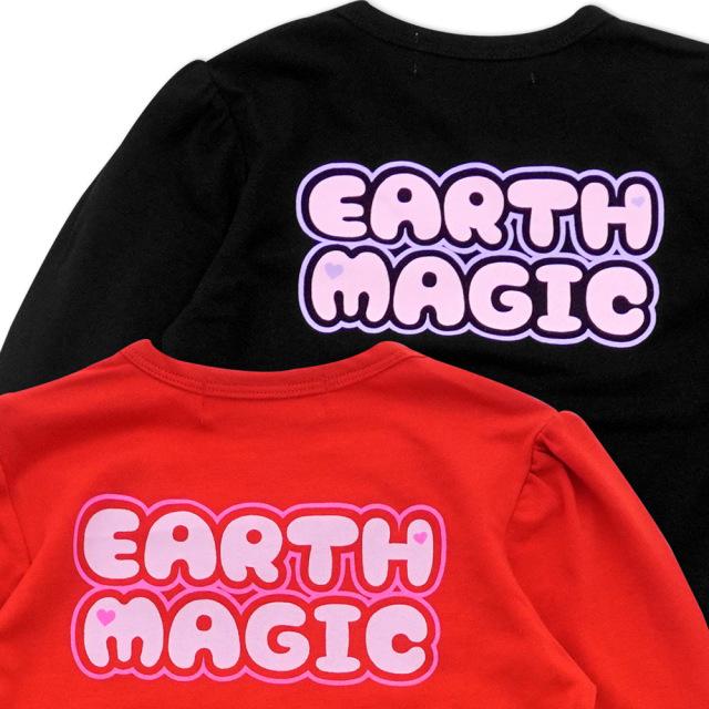 アースマジック EARTHMAGIC フェイスマフィー サスペンダー風長袖プリントTシャツ チュールフリル 2021秋冬 クロ アカ