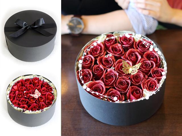 【生花】BOXアレンジメント~赤い煌薔薇~宝石箱のようなボックスアレンジ(L)【プロポーズ・誕生日・母の日ギフトにおすすめ】【送料無料(※一部地域を除く)】