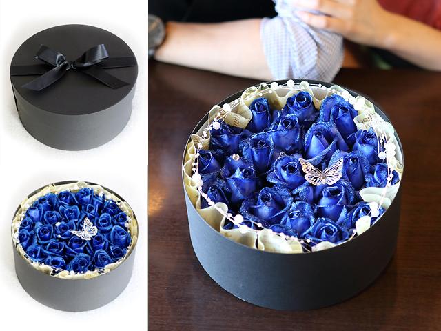 【生花】BOXアレンジメント~青い煌薔薇~宝石箱のようなボックスアレンジ(L)【プロポーズ・誕生日・母の日ギフトにおすすめ】【送料無料(※一部地域を除く)】