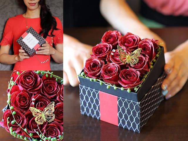 【生花】BOXアレンジメント~赤い煌薔薇~宝石箱のようなボックスアレンジ(M)【誕生日・母の日・お祝いギフトにおすすめ】【送料一律550円(※一部地域を除く)】