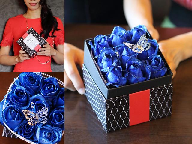 【生花】BOXアレンジメント~青い煌薔薇~宝石箱のようなボックスアレンジ(M)【プロポーズ・誕生日・母の日ギフトにおすすめ】【送料一律550円(※一部地域を除く)】