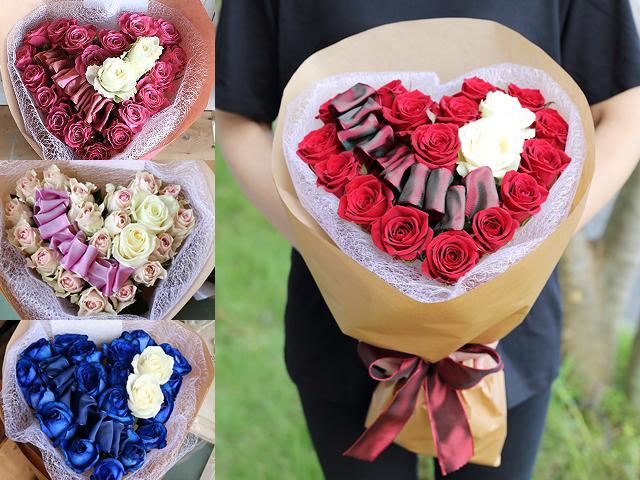 バラのハート型花束~恋する花束・花夢ハート/Come Heart~プロポーズ・誕生日・母の日ギフトにオススメ【送料一律1800円(※一部地域を除く)】