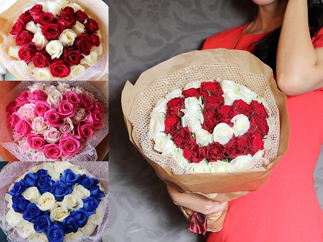 Cuteでまあるいバラのハートの花束~ラウンドinハート【誕生日・プロポーズギフトにおすすめ】【送料無料(※一部地域を除く)】