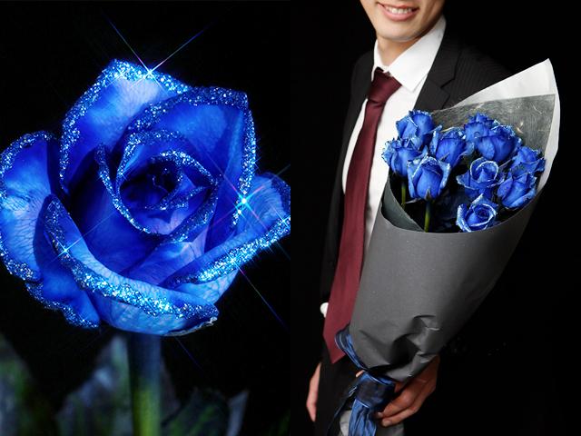 青い煌薔薇~きらめきばら~輝くバラの花束【誕生日・母の日ギフトにおすすめ】【送料一律1800円(※一部地域を除く)】(本数売り)