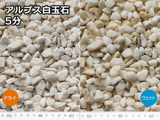 アルプス白玉石(日本・長野県産) 20kg 5分