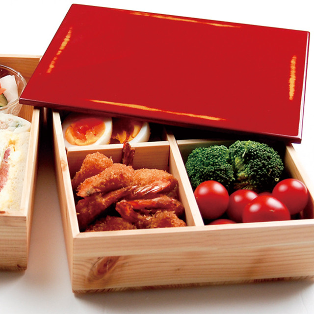 【和歌山県産ヒノキ使用】間伐材 重箱 変根来(かわりねごろ)用十字仕切り