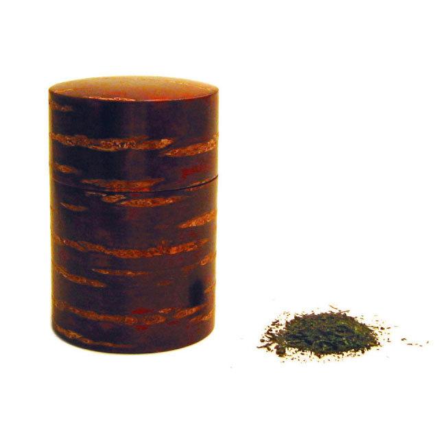 【国産材使用】樺桜総皮茶筒 ミガキ(茶さじつき)