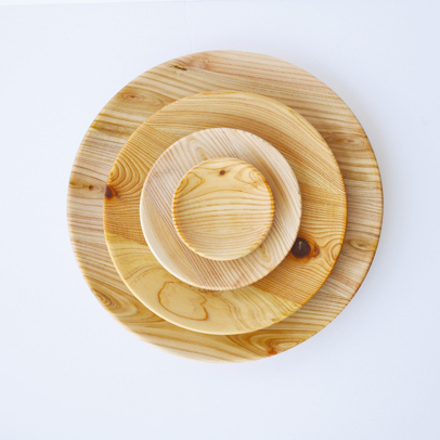 【栃木県産国産材】ひのき間伐材トレー 丸型