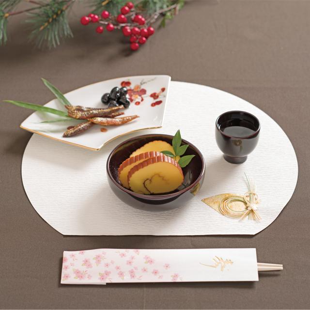川連漆器 ぐいのみ 丸小鉢 ランチョンマット半月金千代扇 祝箸 舞花