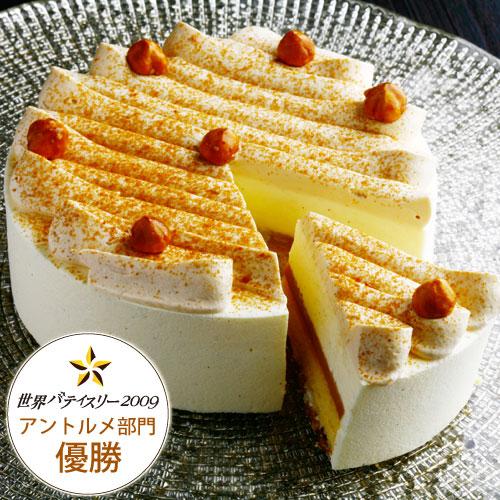 【バースデーケーキ】バニラムースとキャラメルのケーキ『ガイア』(直径12cm)約2~4名様用【冷凍便】