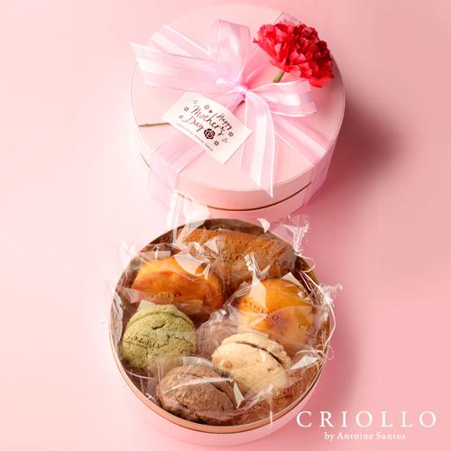 カーネーション付き焼き菓子6個入り丸箱セット【冷蔵便】
