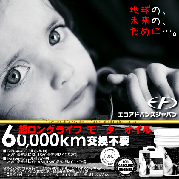 エンジンオイル 【フォーエバー2B】 6万キロ交換不要の長寿命 (4リットル) [5W-30]