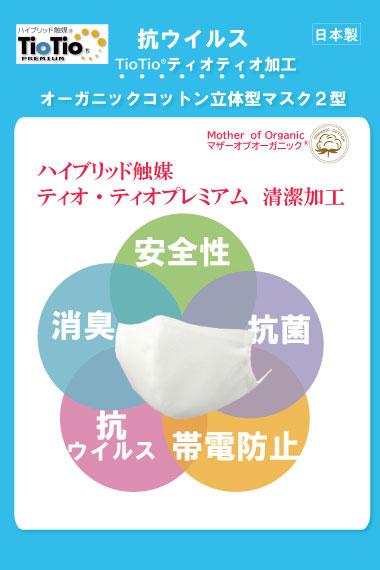 抗ウイルス・制菌Tiotioオーガニックコットンマスク【クレジットカード払いは送料無料】
