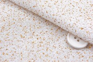 レーヨンちりめん生地 金散らし 金箔 キラキラ生地 金色のドット 白色地 ラメ入り(0644-01)