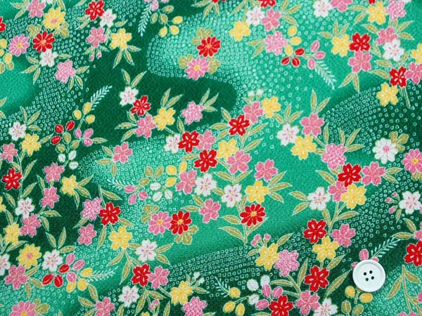 レーヨンちりめん友禅金彩生地 桜・笹・萩・菊・流水・鹿の子 緑