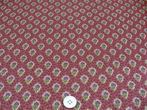 SOULEIADO ソレイアード ラミネート生地 プティット・フルール・デ・シャン 濃いピンク色(0673-75)