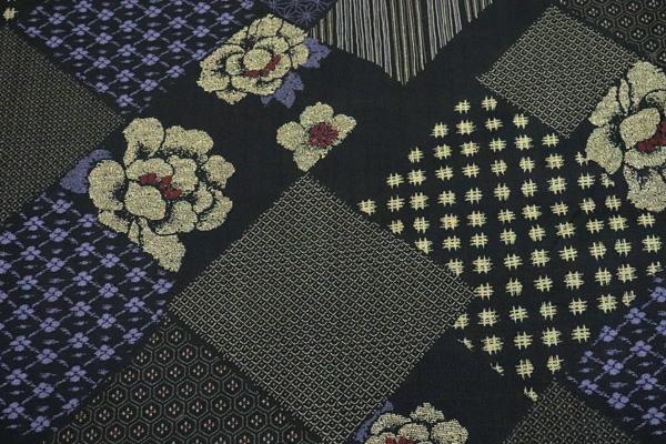 日本の伝統 抜染加工 サザンクロス 小紋つなぎ文様 黒地