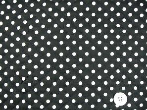 水玉模様(水玉柄・ドット柄)のキルティング生地(綿100%)黒色・ブラック(1171-49)
