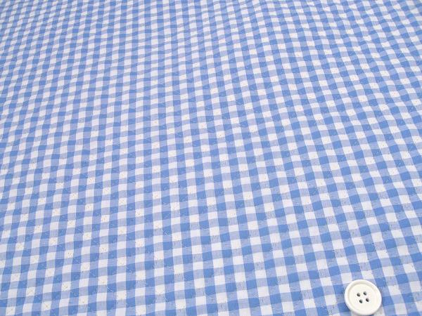 ギンガムチェックのキルティング生地(キルト生地)6mm 水色・サックスブルー(1171-70)