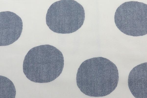 撥水加工 ナイロンオックスフォード 大きな水玉 うすベージュ地×グレー玉