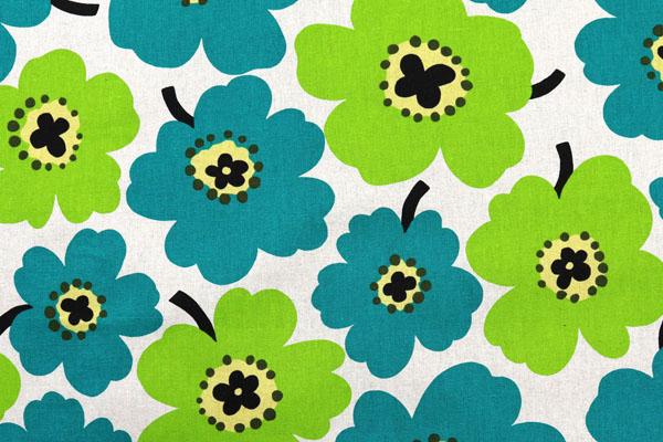 綿麻キャンバスプリント 北欧調の花柄(大) グリーン系