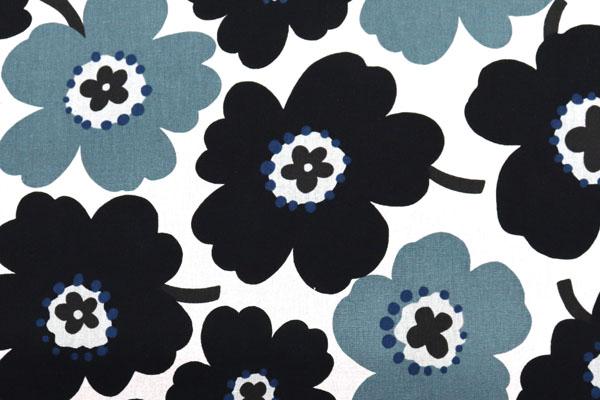 綿麻キャンバスプリント 北欧調の花柄(大) ブラック・グレー系